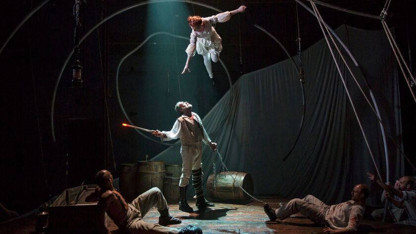 "Anthony Fleming III, left, Christopher Donahue, Emma Cadd and Jamie Abelson in Lookingglass Theatre Company''s ""Moby Dick"" at South Coast Repertory in Costa Mesa."