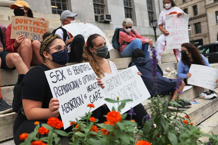 People gathered Wednesday for a reproductive rights rally at Brooklyn Borough Hall.