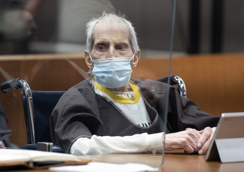 New York real estate scion Robert Durst, 78, answers questions from his defense attorney while testifying in his  trial.