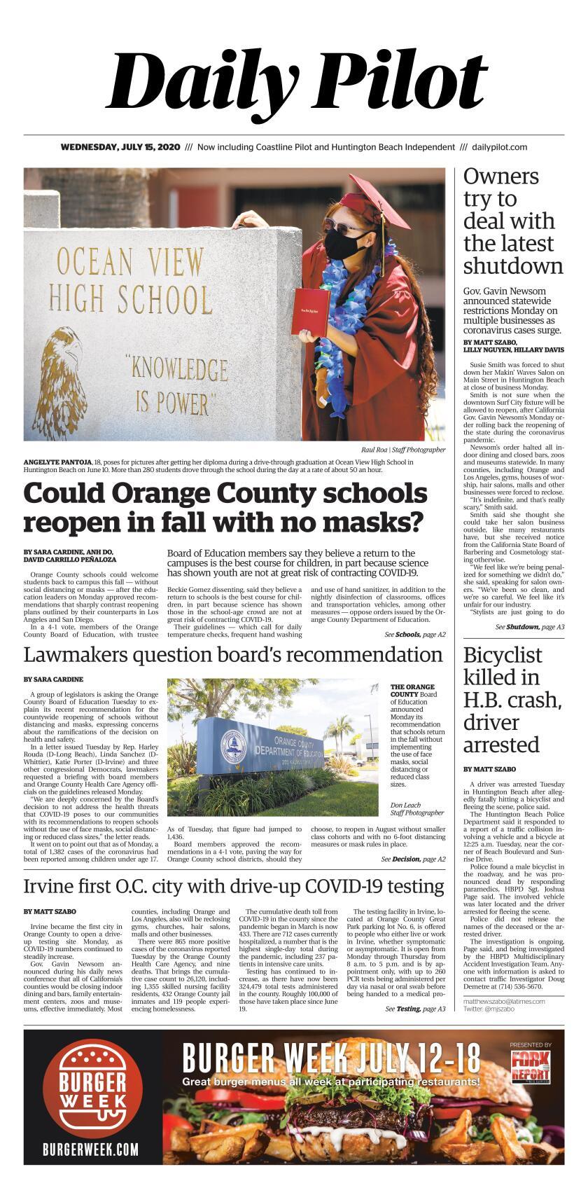 Cover of Wednesday's Daily Pilot e-newspaper.