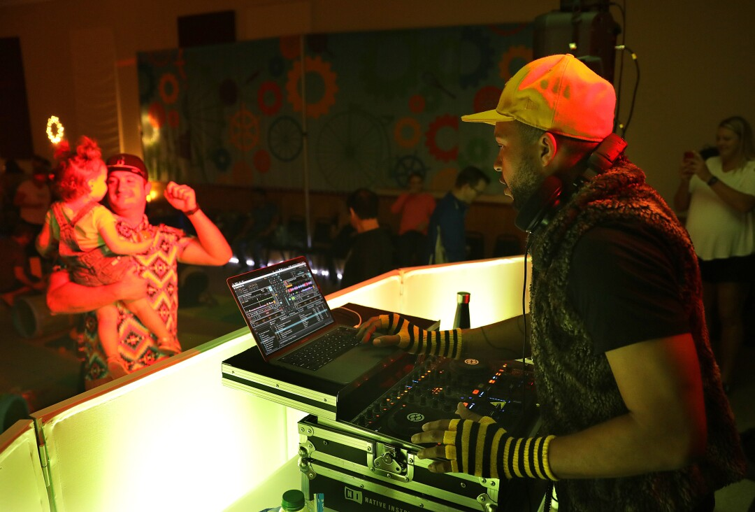 Edward Hazzard, a.k.a. DJ E.T., provides the music at the Baby Raves.