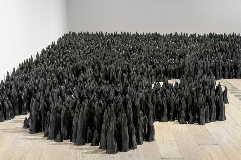 """Black Flame"" (detail) by Liu Jianhua, 2017, at LACMA."
