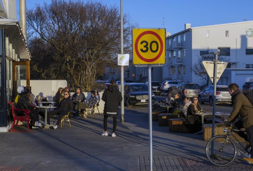 People gather at a restaurant in Reykjavik, Iceland, last week.