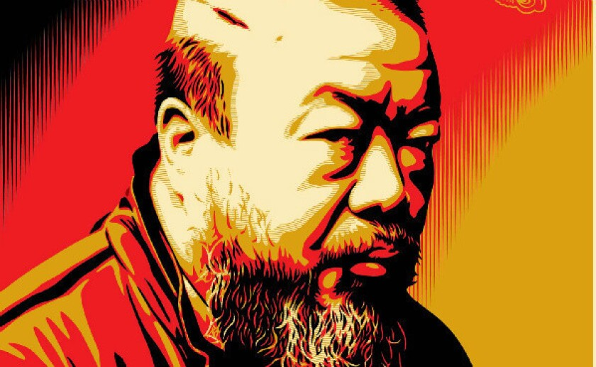 A detail of a portrait of Chinese artist Ai Weiwei created by Shepard Fairey.