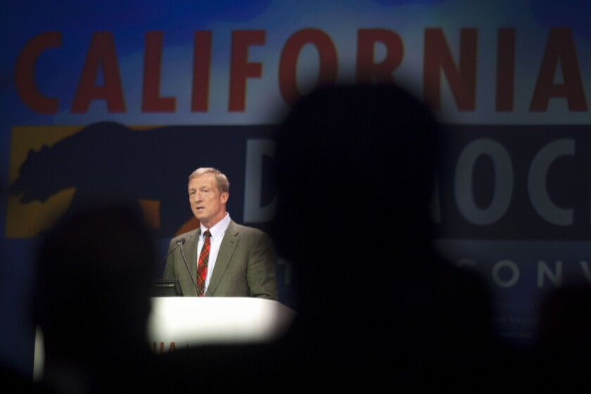 Tom Steyer, pictured at the California Democratic Convention in March, has said he would spend $100 million of his wealth on his presidential bid.