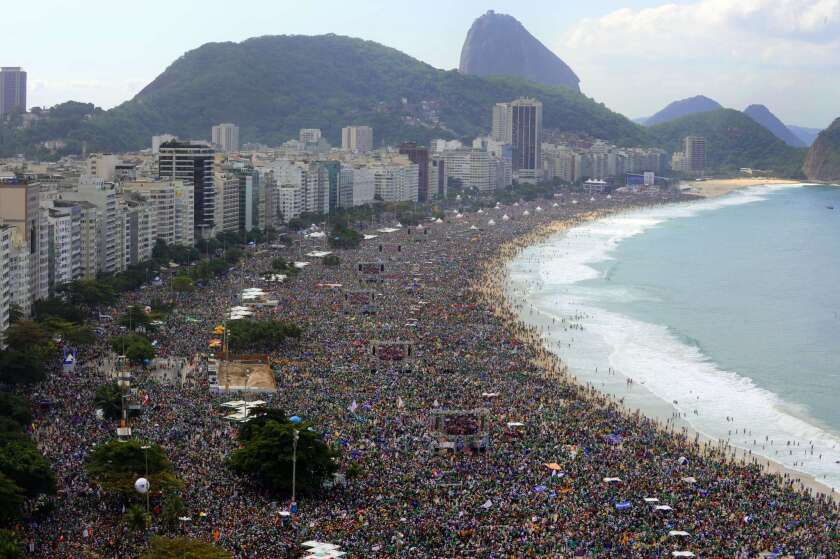 Pope Francis draws millions to Copacabana beach, exhorts youth ...