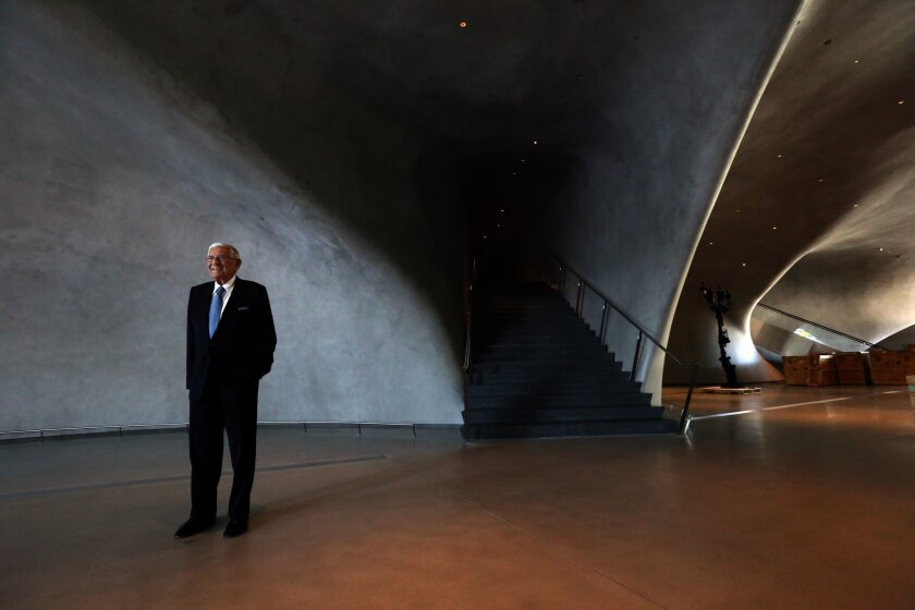 Eli Broad stands inside the Broad museum in 2015.