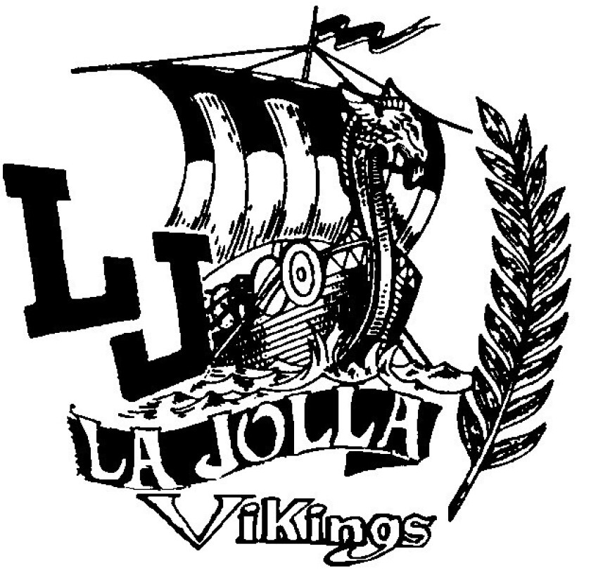 An early logo and current logo for the La Jolla High School Vikings