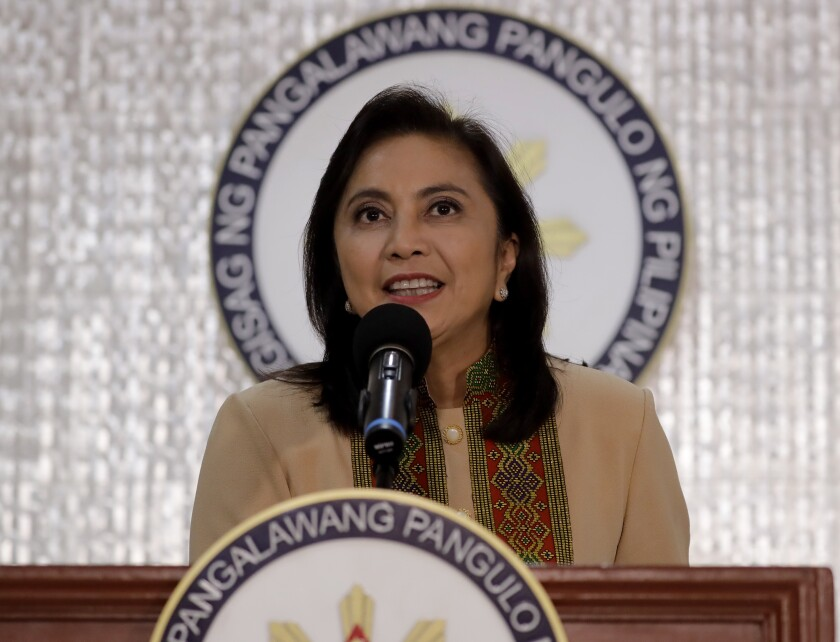 "Philippine Vice-president Leonor ""Leni"" Robredo delivers her statement Wednesday, Nov. 6, 2019, in suburban Quezon city northeast of Manila, Philippines. Robredo has accepted an offer by President Rodrigo Duterte for her to play a lead role in his deadly crackdown against illegal drugs even though she's been warned it could be a political ploy to destroy her. (AP Photo/Bullit Marquez)"