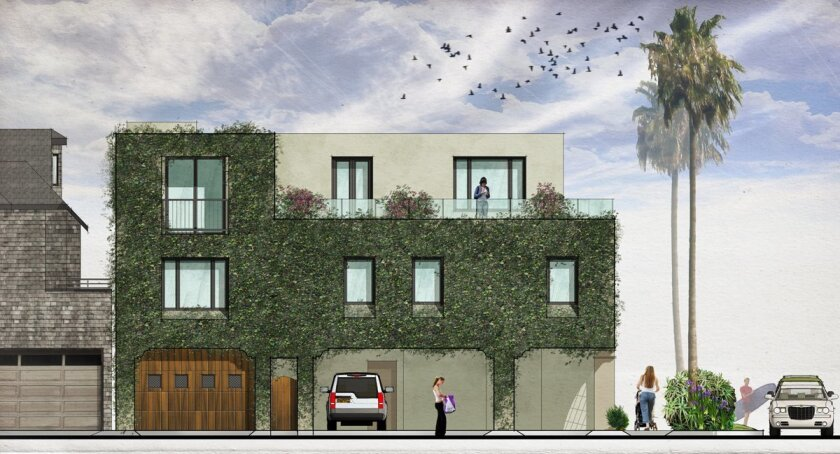 Rendering of a mixed-use building La jolla Shores residents Bob and Kim Whitney plan to build, as seen from the north along Calle Clara.