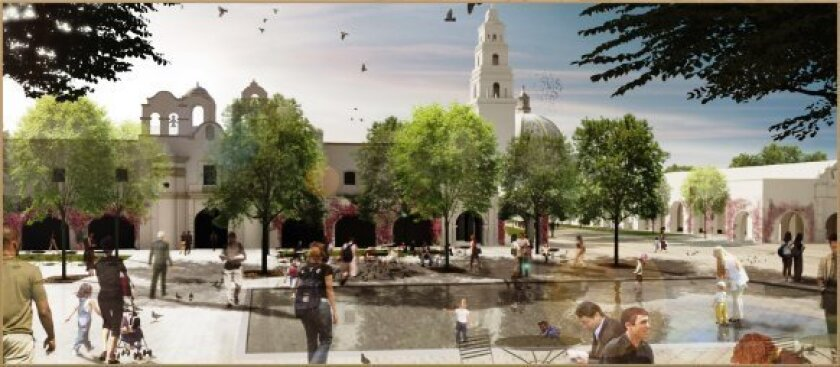 The Plaza de Panama in front of the San Diego Museum of Art would be cleared of cars and parking and landscaped with trees and two shallow pools filled during offpeak times.