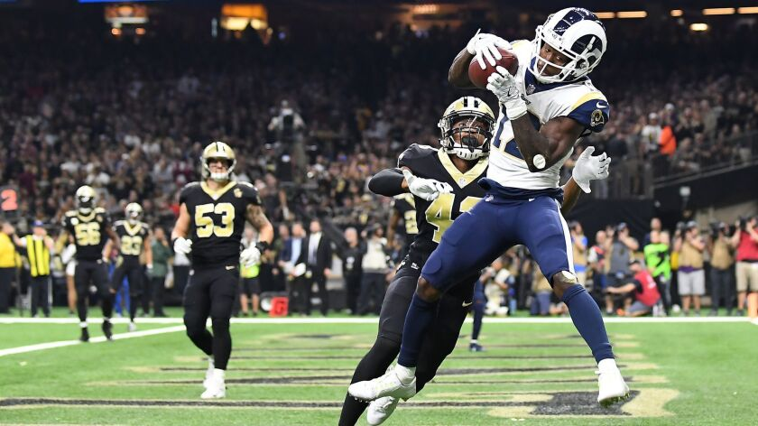NEW ORLEANS, LOUISIANA, NOVEMBER 4, 2018-Rams receiver Brandin Cooks catches a touchdown in front of