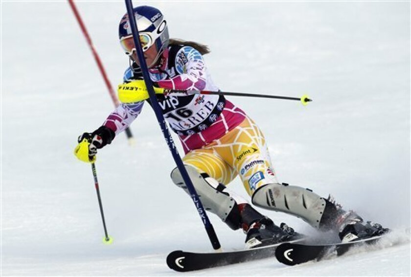 Lindsey Vonn of the United States, competes during the first run of an alpine ski women's World Cup slalom event, in Zagreb, Tuesday, Jan. 4, 2011. (AP Photo/Darko Bandic)