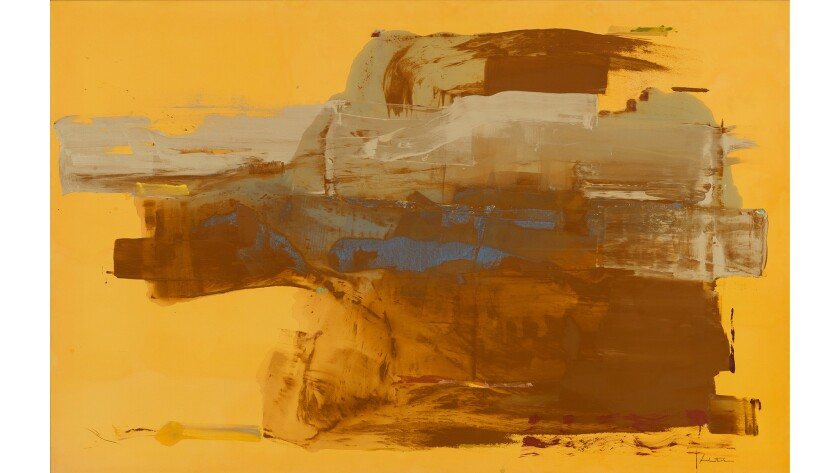 """""""Mineral Kingdom,"""" 1976, by Helen Frankenthaler — shows the artist playing with the nature of paint late in life."""
