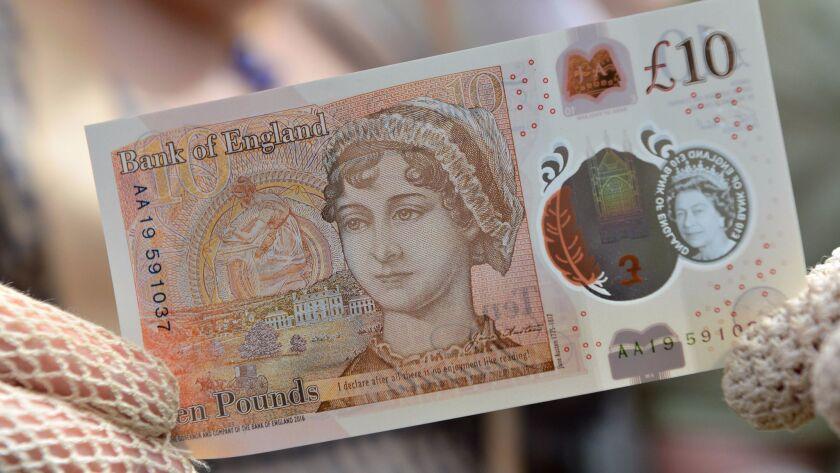 Jane Austen on the 10-pound bank note.