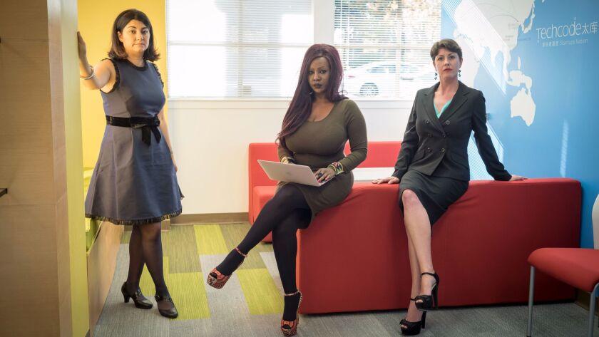 MOUNTAIN VIEW, CA NOVEMBER 14, 2017 -- From left, Layla Sabourian Kiki Mwiti, and Samantha Friedman
