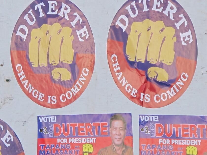 Campaign posters for presidential front-runner Rodrigo Duterte, the famousl