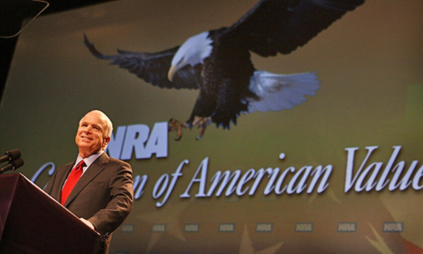 Republican presidential candidate Senator John McCain addresses the NRA's annual meeting at the Kentucky Exposition Center May 16, 2008 in Louisville, Kentucky.