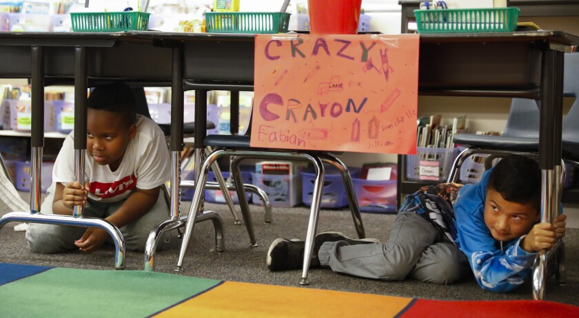 Great California ShakeOut earthquake drill at San Diego school.