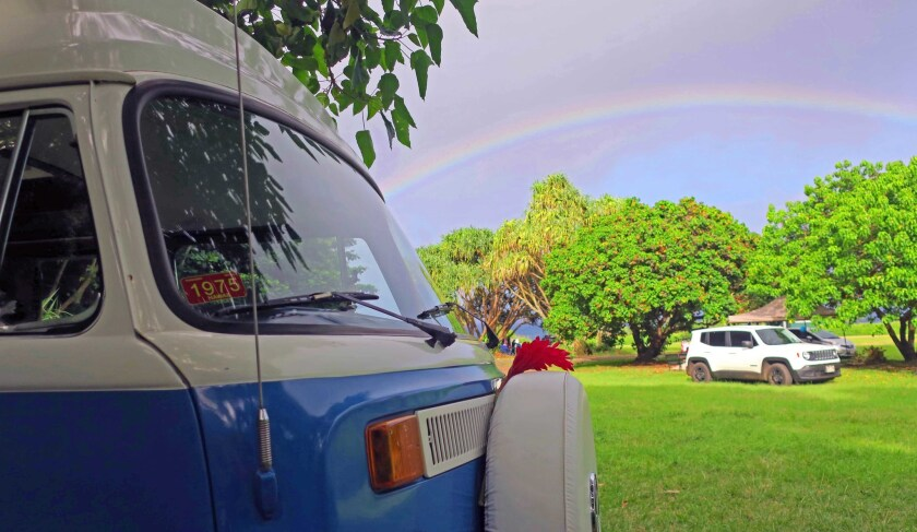 The Gypsea van was a popular sight as the pair cruised the North Shore of Maui on the famed Hana Highway