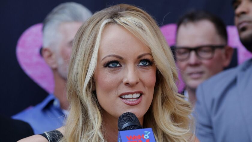 FILE - In this May 23, 2018 file photo, porn actress Stormy Daniels speaks during a ceremony for her