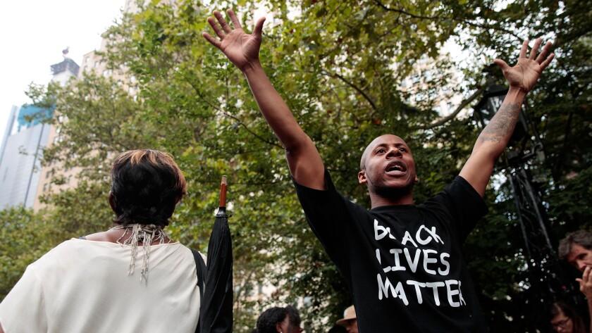 Protestors rally in New York City.
