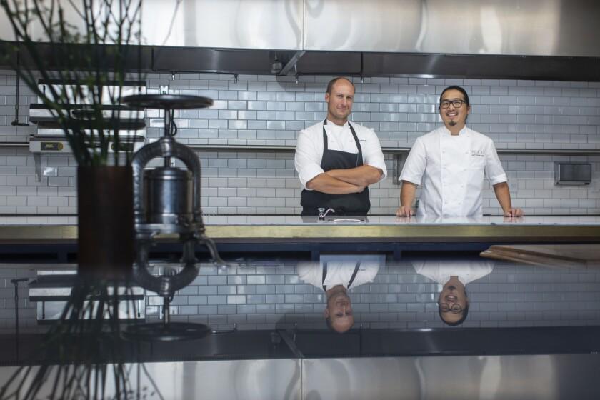 Chef Dave Beran, left, and Pasjoli's chef de cuisine Matthew Kim