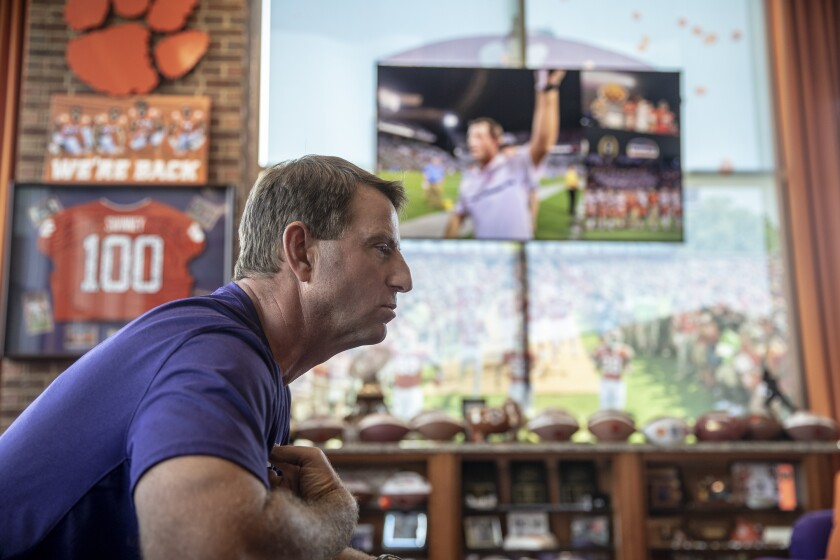 Clemson coach Dabo Swinney doesn't believe wholesale changes should be made in college athletics.
