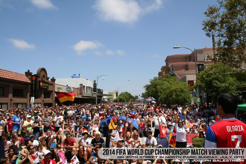 Soccer fans gather in North Park for the 2014 FIFA World Cup Championship.