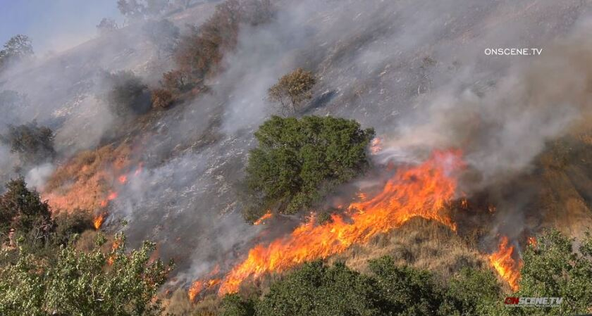 A wildfire burns near Gilroy