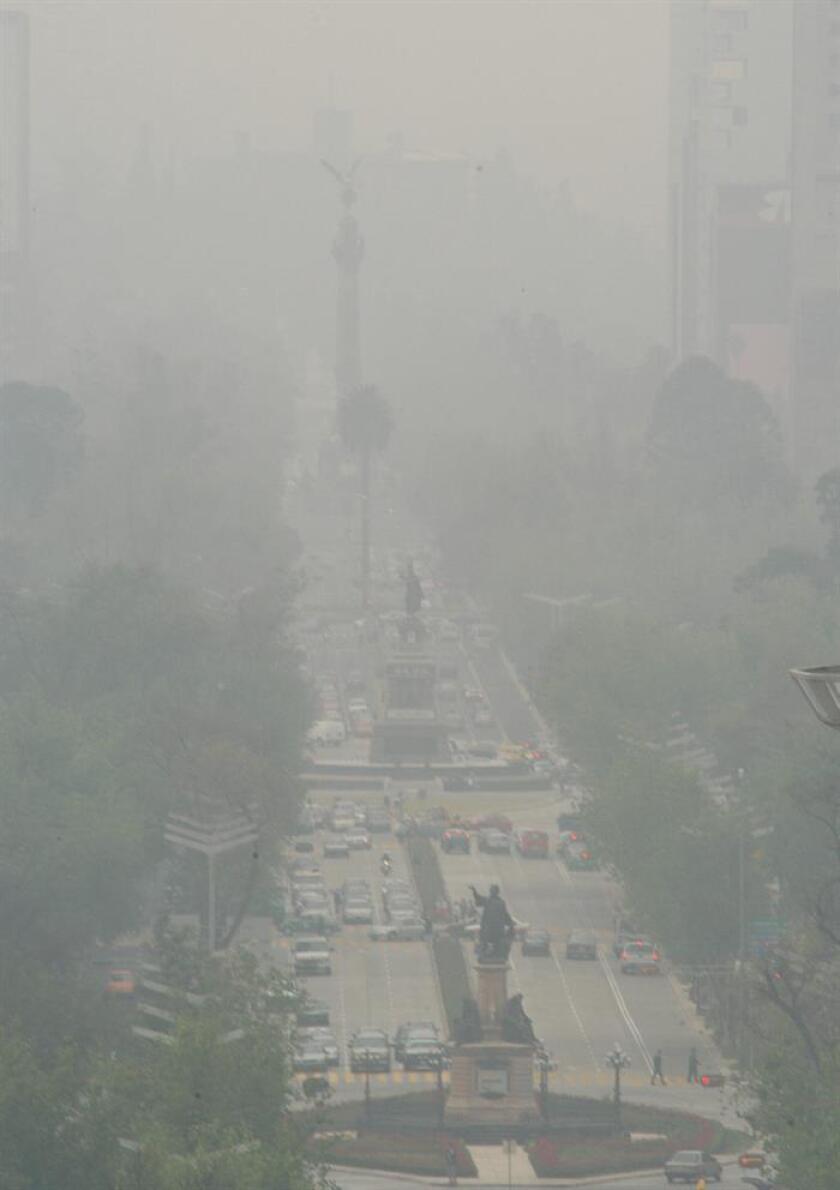 Fotografía de archivo del 14 de enero de 2005, donde se aprecia la contaminación del aire en la Ciudad de México (México). EFE/ARCHIVO