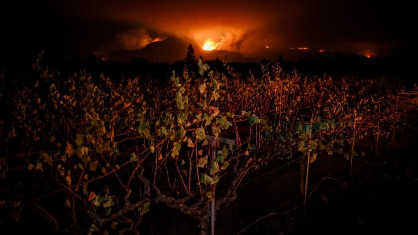 Abrush fire lights up the night sky in Wine Country in 2017.