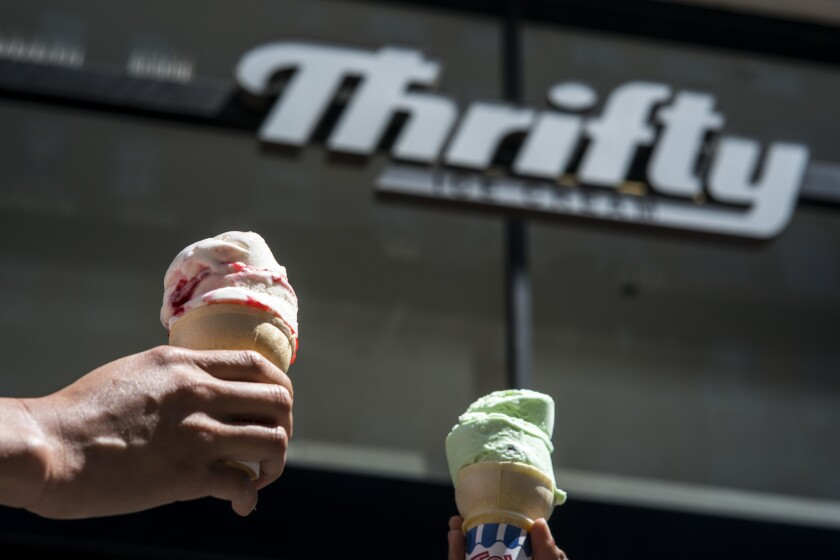 LOS ANGELES, CALIF. - MAY 15: The Rite-Aid in downtown Los Angeles has a Thrifty Ice Cream kiosk ins
