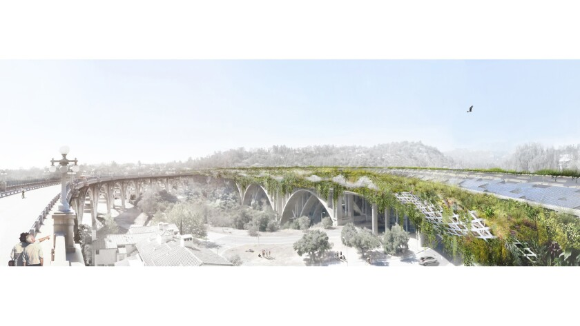 L.A. architect Michael Maltzan's plan is to wrap the 134 Freeway as it crosses the Arroyo Seco in Pasadena with a tunnel-like form.