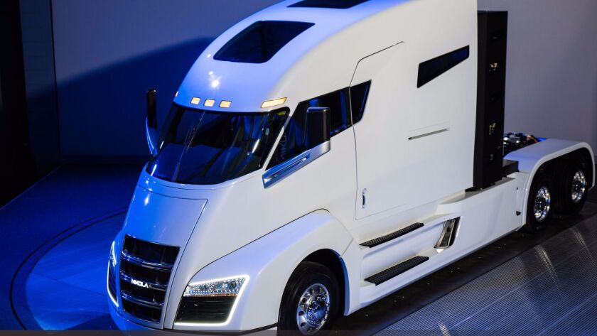 An electric truck prototype designed by Nikola Motor Corp.
