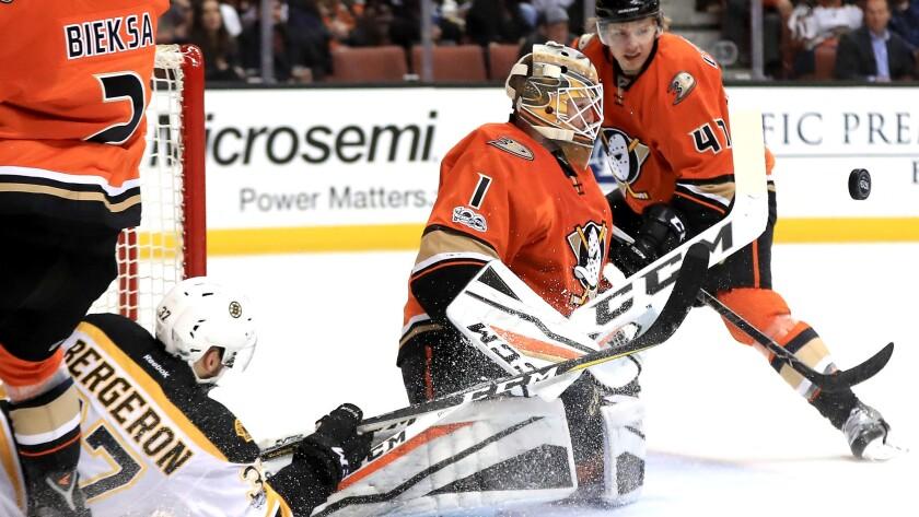 Ducks goalie Jonathan Bernier (1) blocks a shot during the 5-3 victory over the Bruins on Wednesday night.