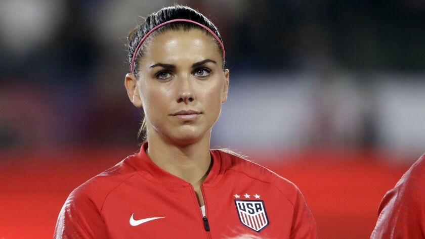 United States' Alex Morgan before an international friendly soccer match against Chile Friday, Aug.
