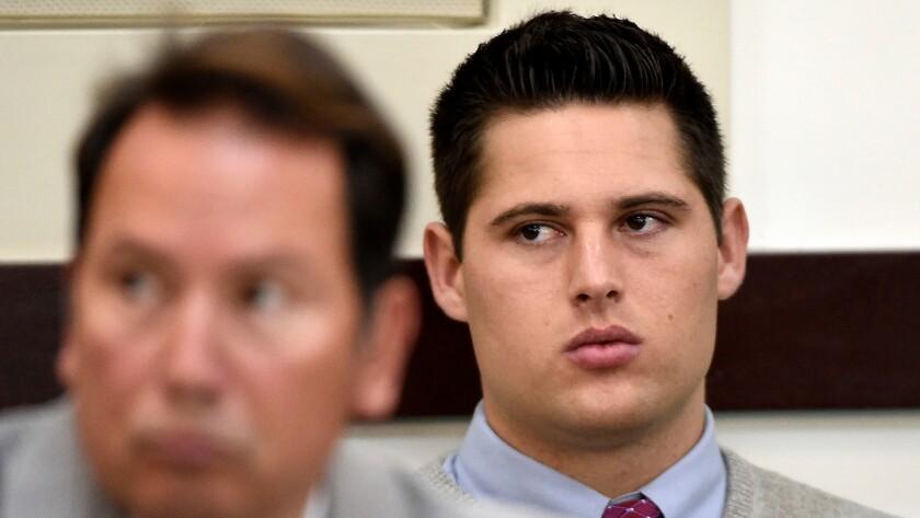 Brandon Vandenburg, a former Vanderbilt football player, listens during his rape trial on Saturday in Nashville, Tenn.