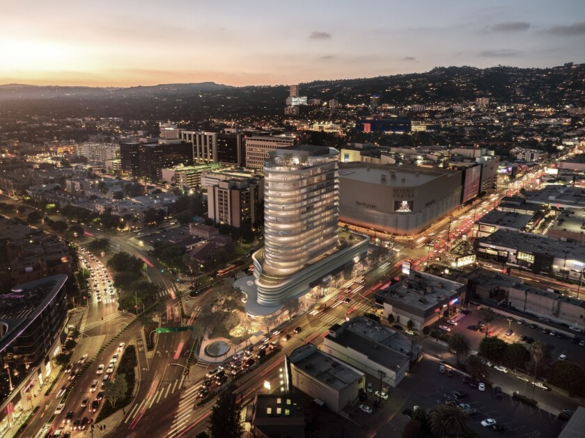 An artist's rendering shows a luxury apartment project planned by developer Rick Caruso on La Cienega Boulevard in Beverly Grove.