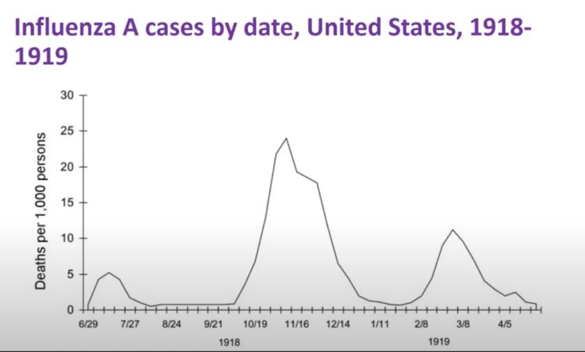 Influenza A cases by date in the U.S., 1918-1919