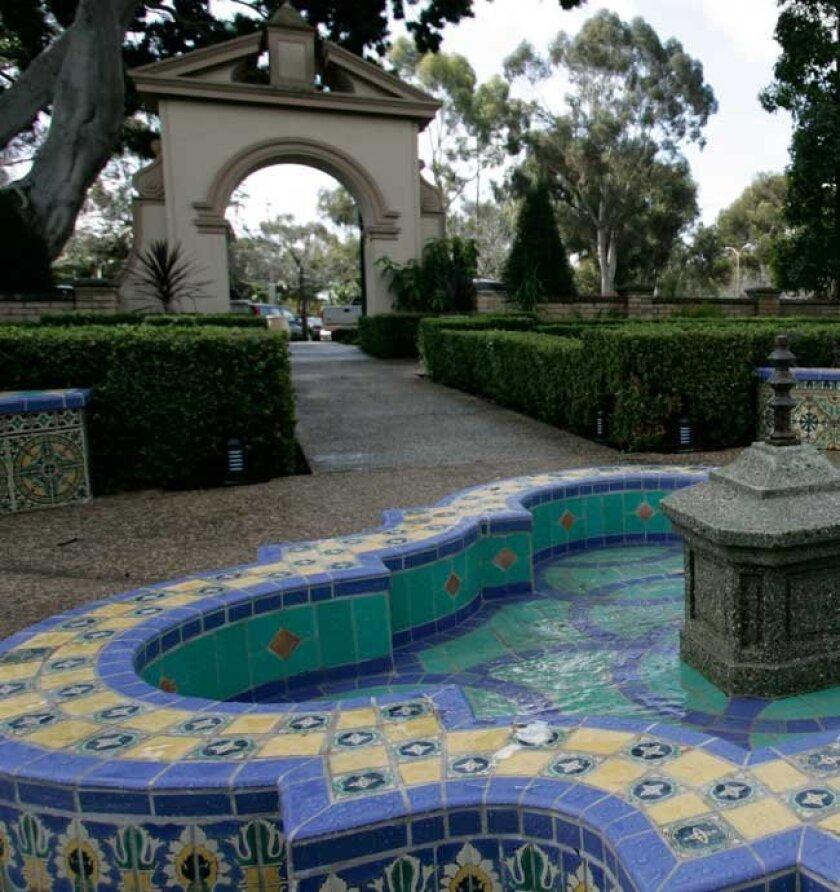A fountain at Balboa Park's Alcazar Garden.