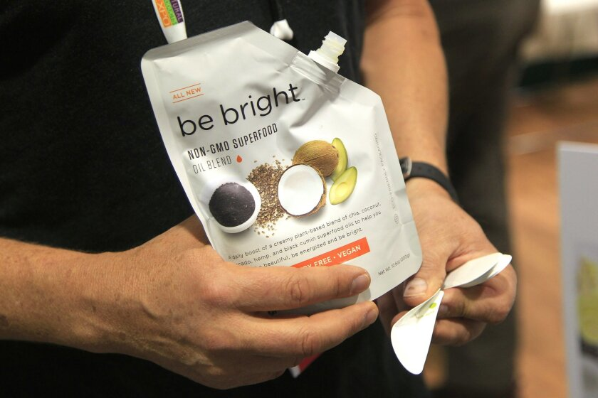 This is Coromega's Be Bright supplement squeeze pouch at the Natural Products Expo West at the Anaheim Convention Center on Friday in Anaheim, California.