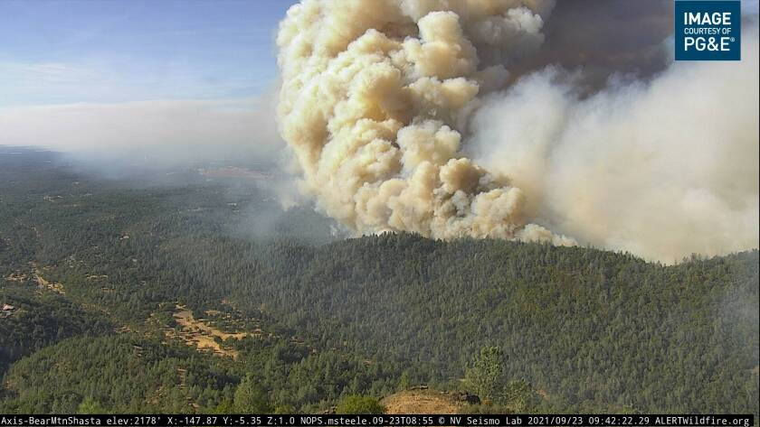 A plume of smoke from the Fawn fire in Shasta County.