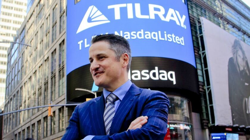 Brendan Kennedy, founder and CEO of Tilray Inc., a Canadian marijuana distributor, outside the Nasdaq exchange in New York on the company's first day of trading in July.