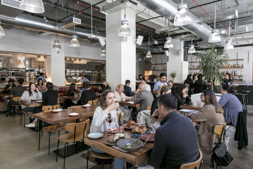 The lunchtime crowd at Tartine Bianco in May. The restaurant, housed in the now-closed Manufactory, shut its doors last month.