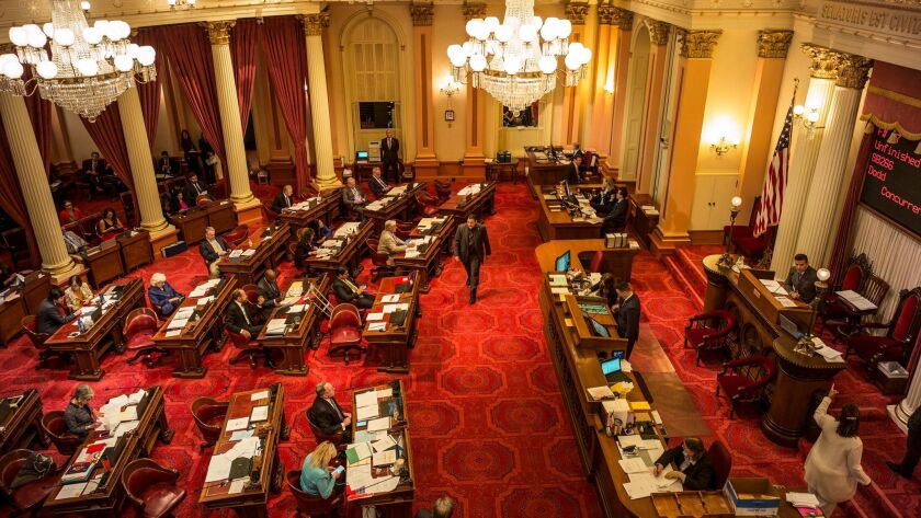 SEPTEMBER 15, 2017 SACRAMENTO, CA The state senate chamber is full of activity as the final argumen
