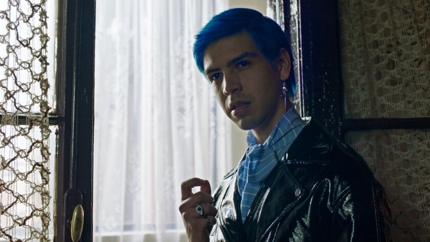 """Blue-haired Julio Torres in HBO's """"Los Espookys"""""""