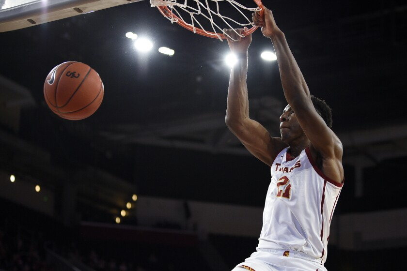 USC's Onyeka Okongwu dunks during the Trojans' 82-78 win over Stanford on Jan. 18, 2020.