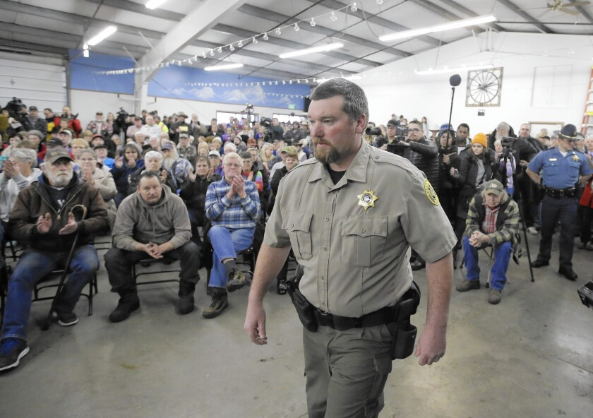 When Harney County Sheriff David Ward met with residents Jan. 6 in Burns, Ore., he seemed determined to create some drama, casting himself as the lead character.