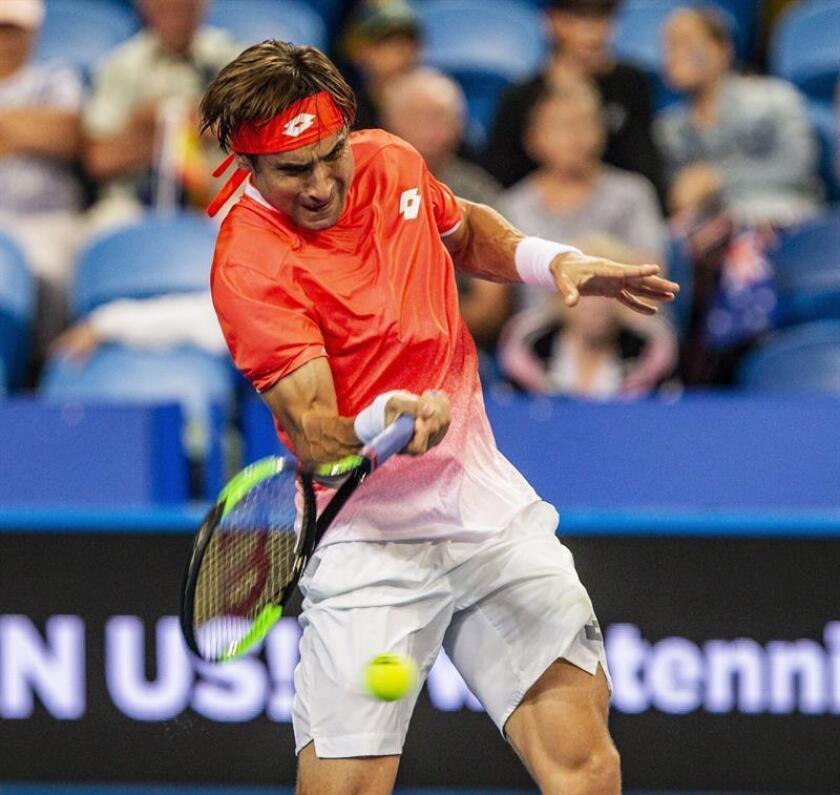 El tenista español David Ferrer durante el partido individual masculino entre Australia y España de la Copa Hopman de tenis, en el RAC Arena de Perth, Australia, hoy, 2 de enero de 2019. EFE